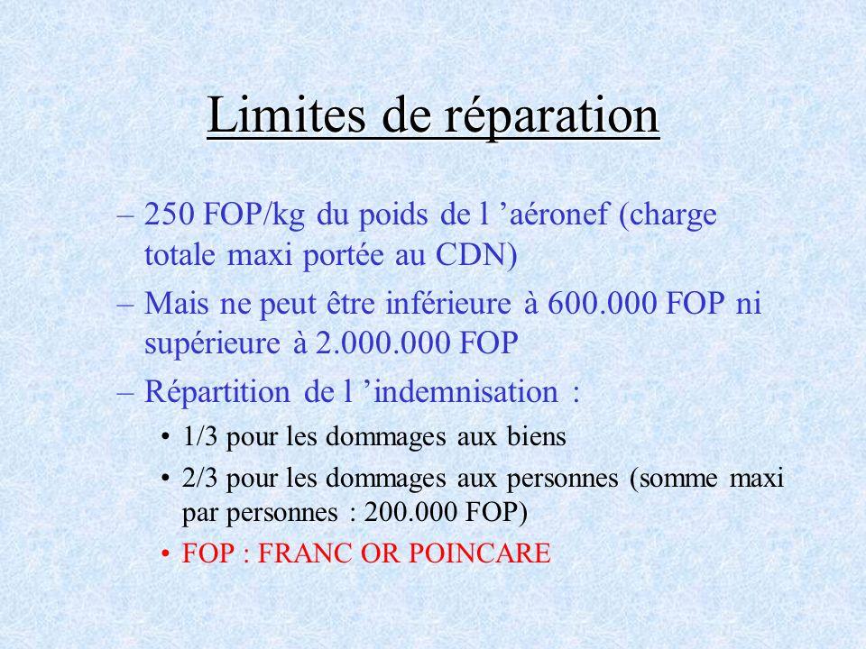 Limites de réparation 250 FOP/kg du poids de l 'aéronef (charge totale maxi portée au CDN)