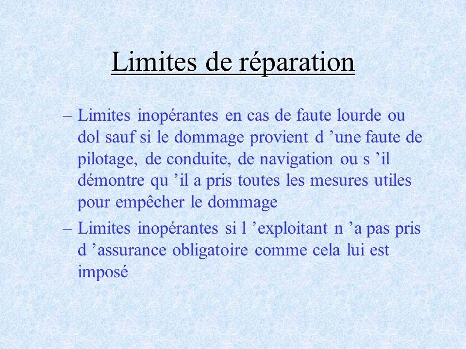Limites de réparation