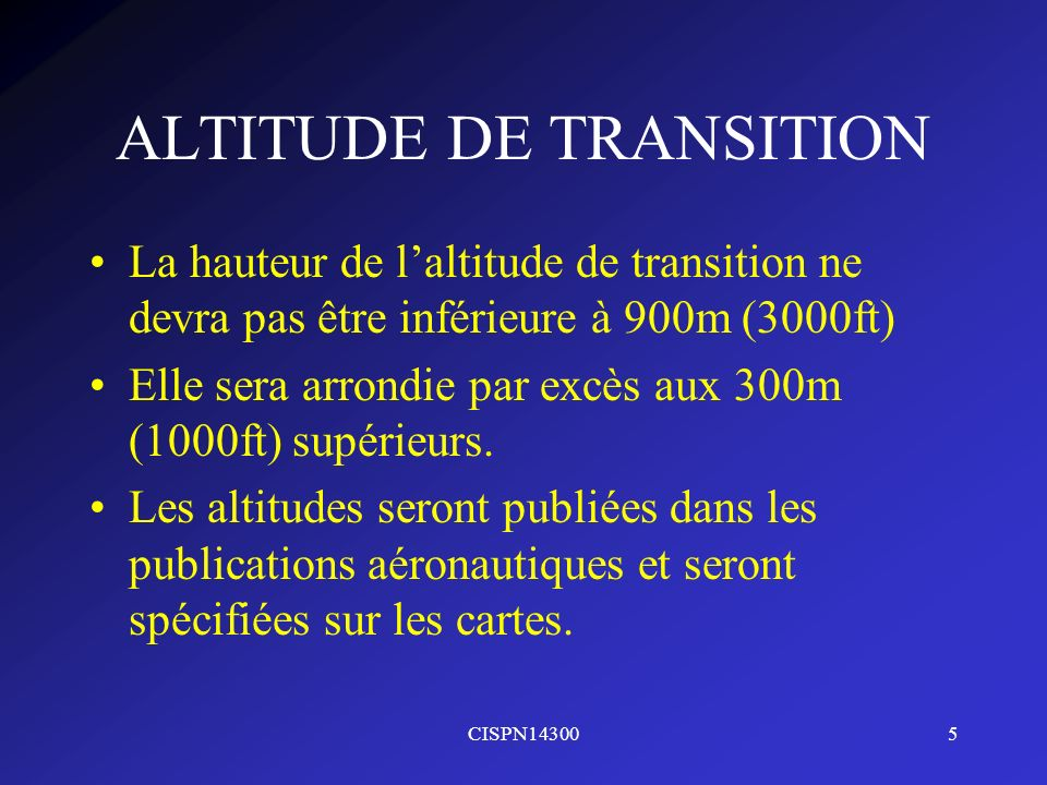 ALTITUDE DE TRANSITION