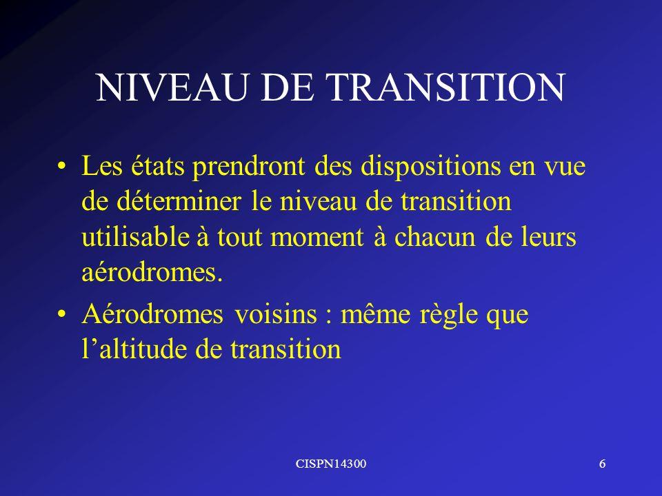 NIVEAU DE TRANSITION