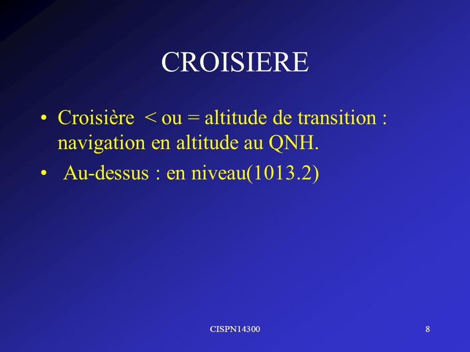 CROISIERE Croisière < ou = altitude de transition : navigation en altitude au QNH. Au-dessus : en niveau(1013.2)