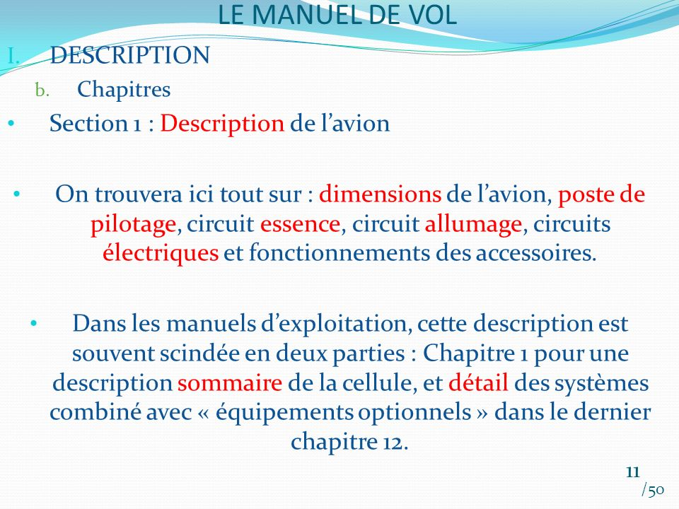 LE MANUEL DE VOL DESCRIPTION Section 1 : Description de l'avion
