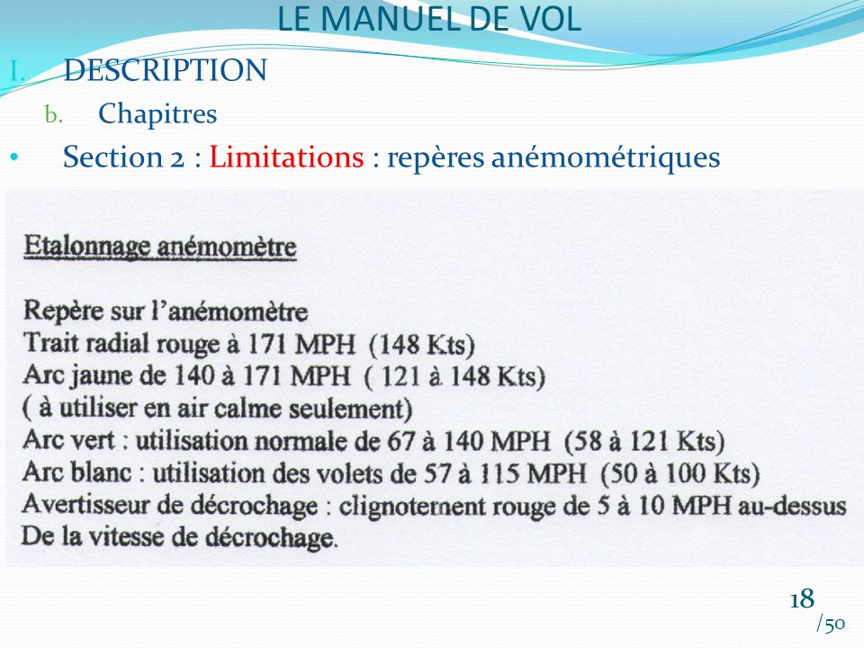 LE MANUEL DE VOL DESCRIPTION