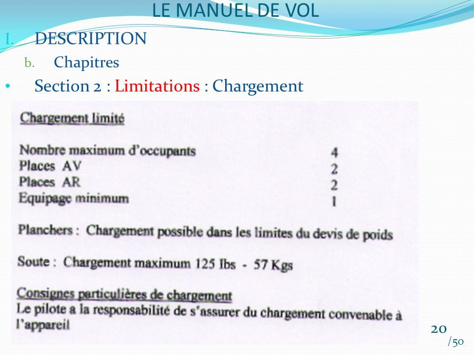 LE MANUEL DE VOL DESCRIPTION Section 2 : Limitations : Chargement