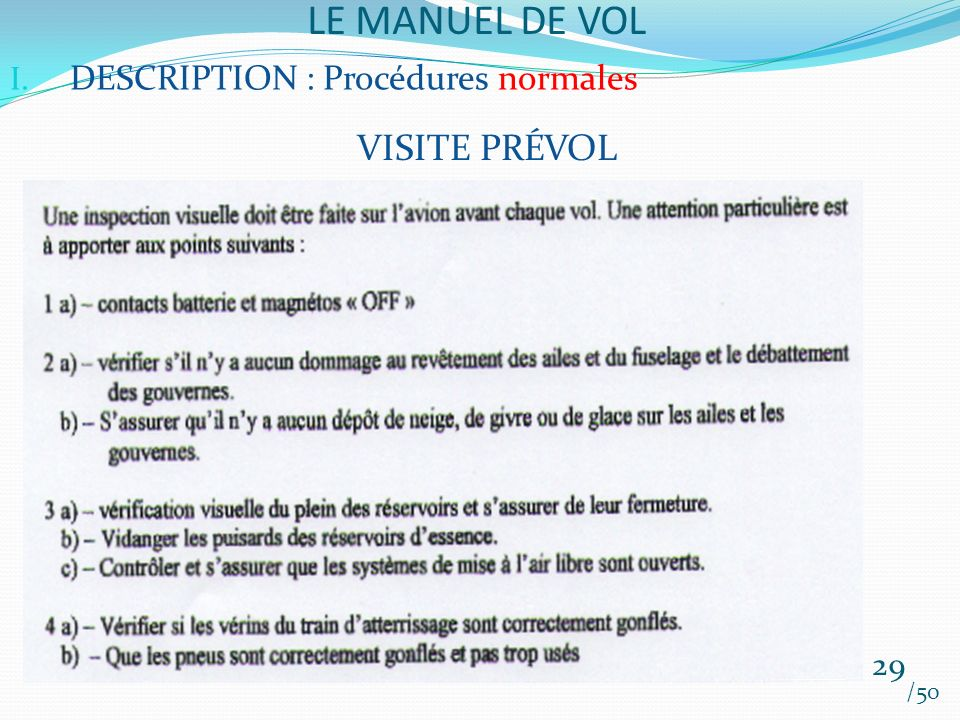 LE MANUEL DE VOL VISITE PRÉVOL DESCRIPTION : Procédures normales 29
