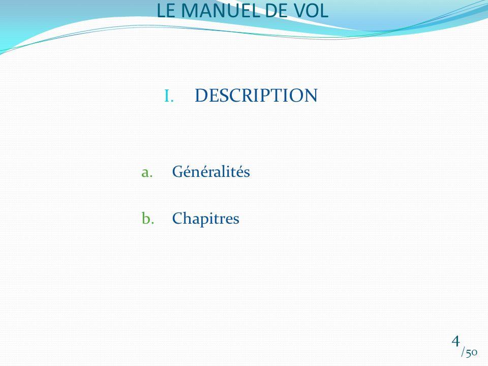 LE MANUEL DE VOL DESCRIPTION Généralités Chapitres 4 /50