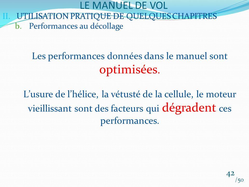 Les performances données dans le manuel sont optimisées.