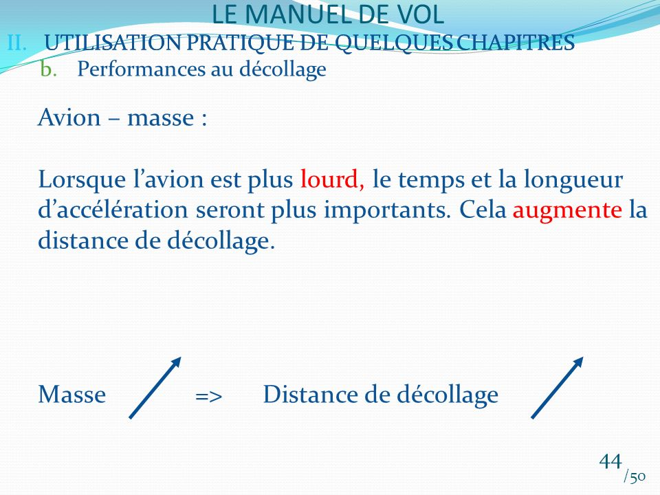 LE MANUEL DE VOL Avion – masse :