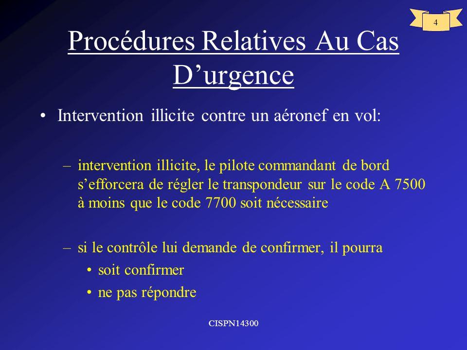 Procédures Relatives Au Cas D'urgence