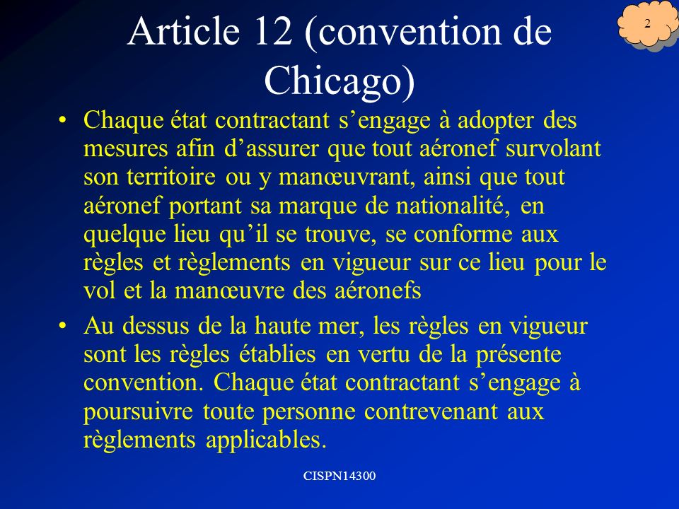 Article 12 (convention de Chicago)