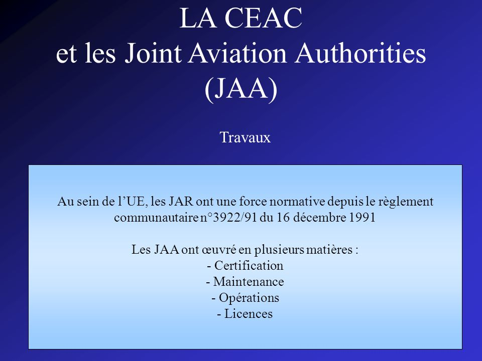 LA CEAC et les Joint Aviation Authorities (JAA)