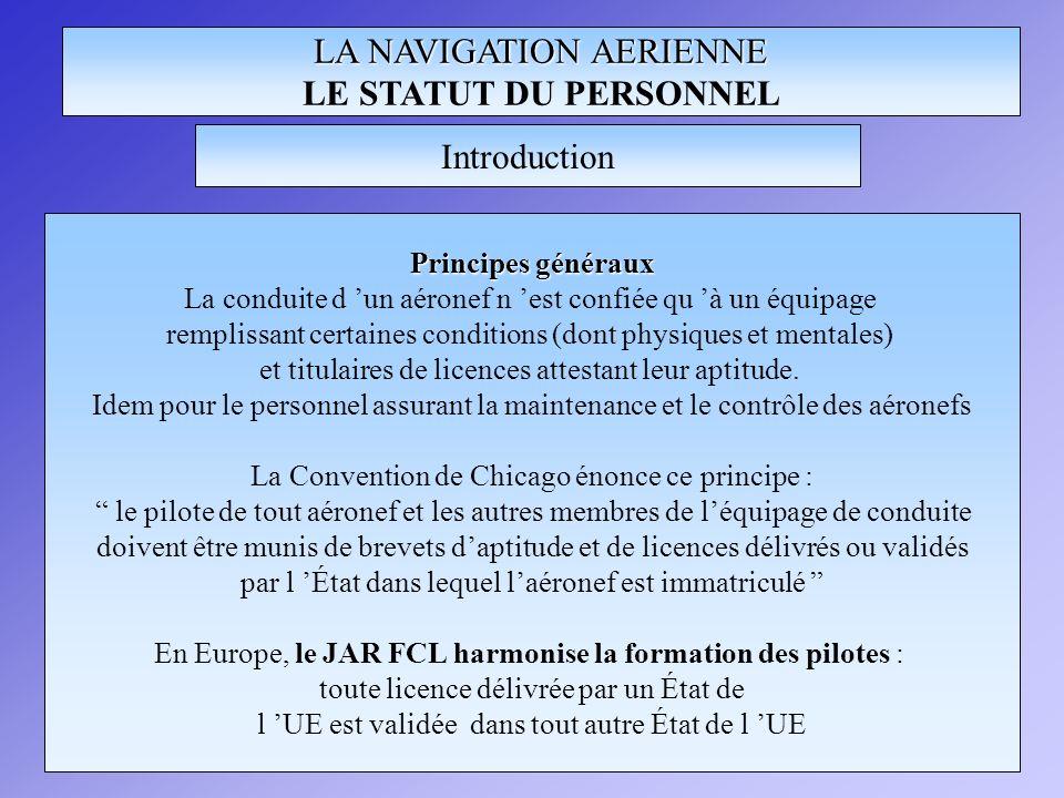 LA NAVIGATION AERIENNE LE STATUT DU PERSONNEL
