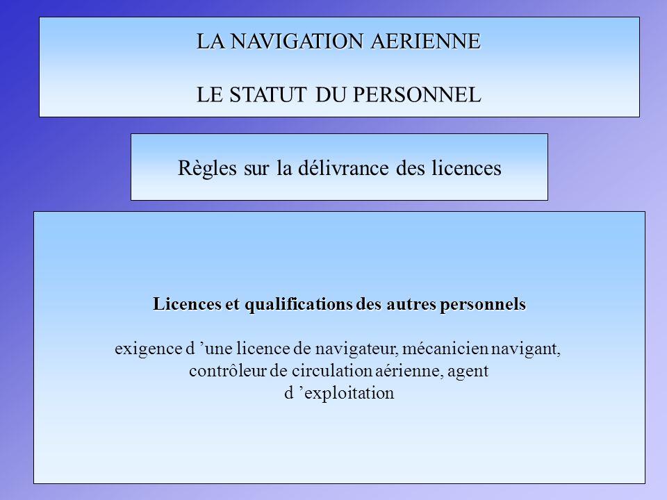 Licences et qualifications des autres personnels