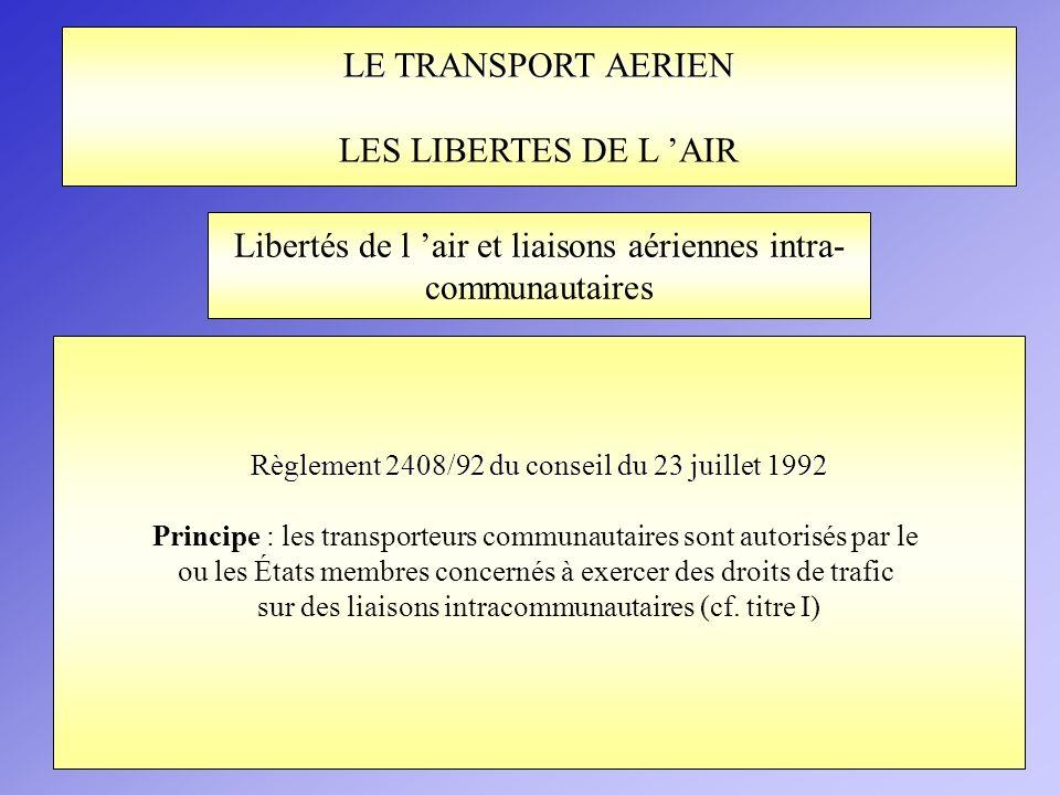 Libertés de l 'air et liaisons aériennes intra- communautaires