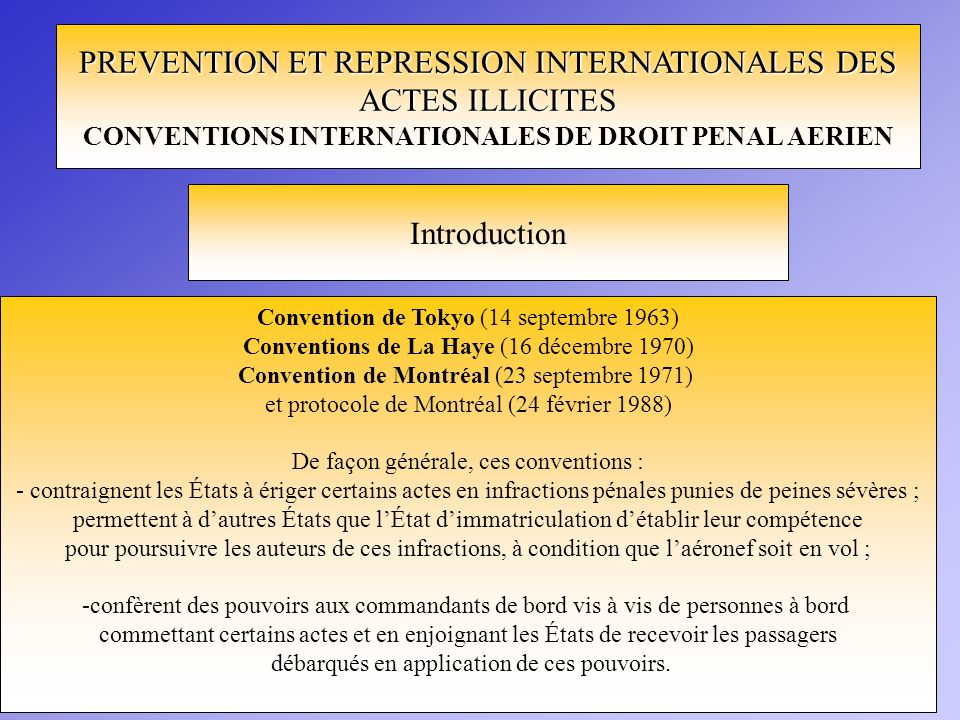 CONVENTIONS INTERNATIONALES DE DROIT PENAL AERIEN