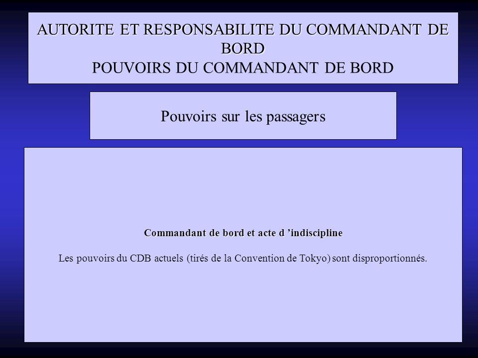 Commandant de bord et acte d 'indiscipline