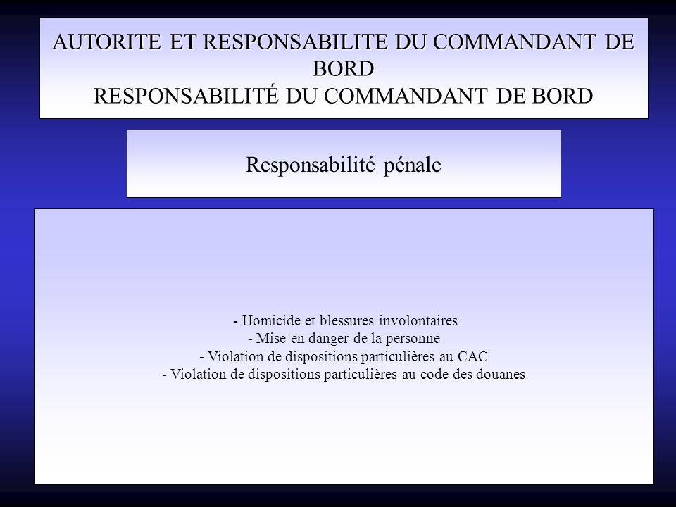 AUTORITE ET RESPONSABILITE DU COMMANDANT DE BORD