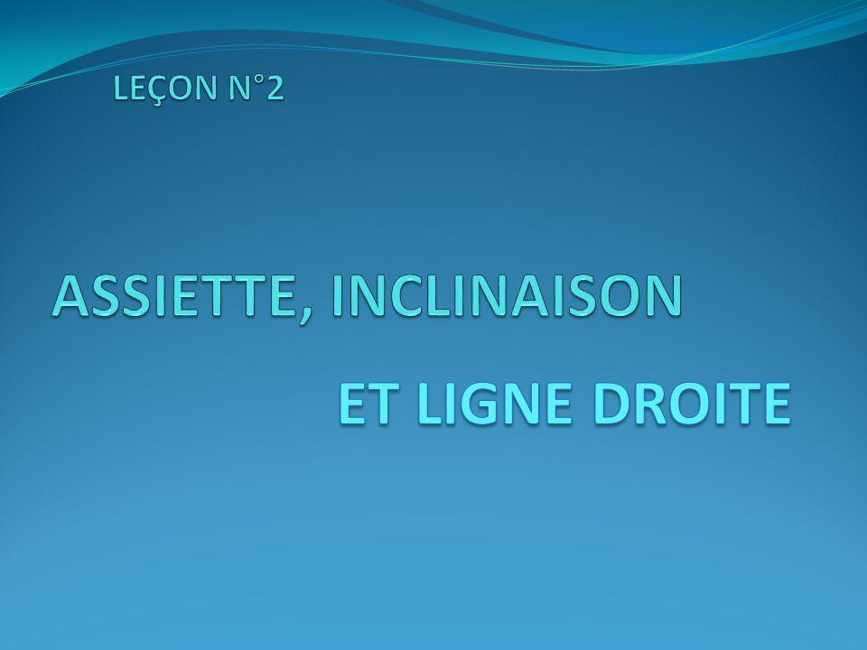 LEÇON N°2 ASSIETTE, INCLINAISON