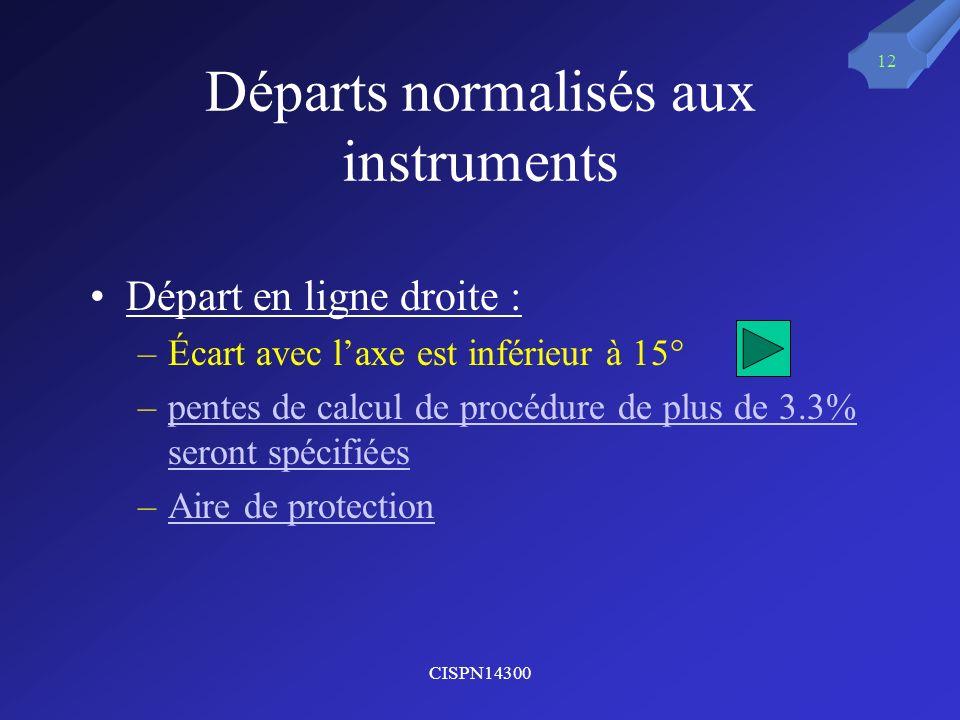 Départs normalisés aux instruments