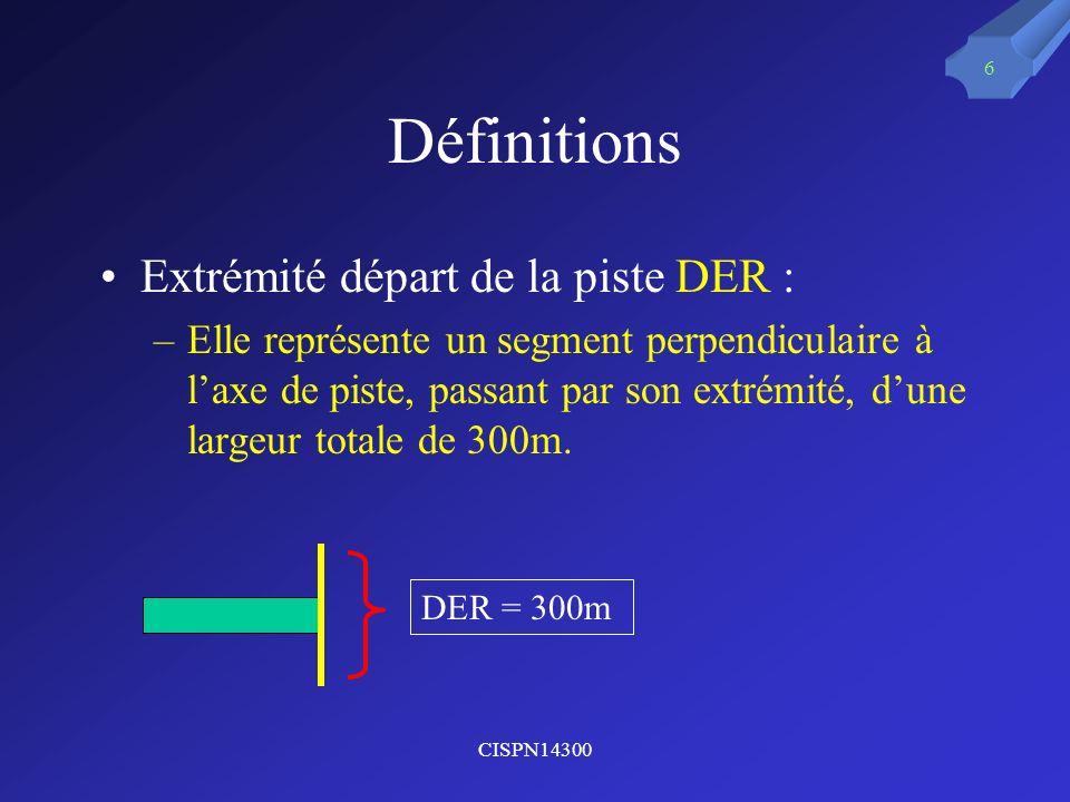 Définitions Extrémité départ de la piste DER :