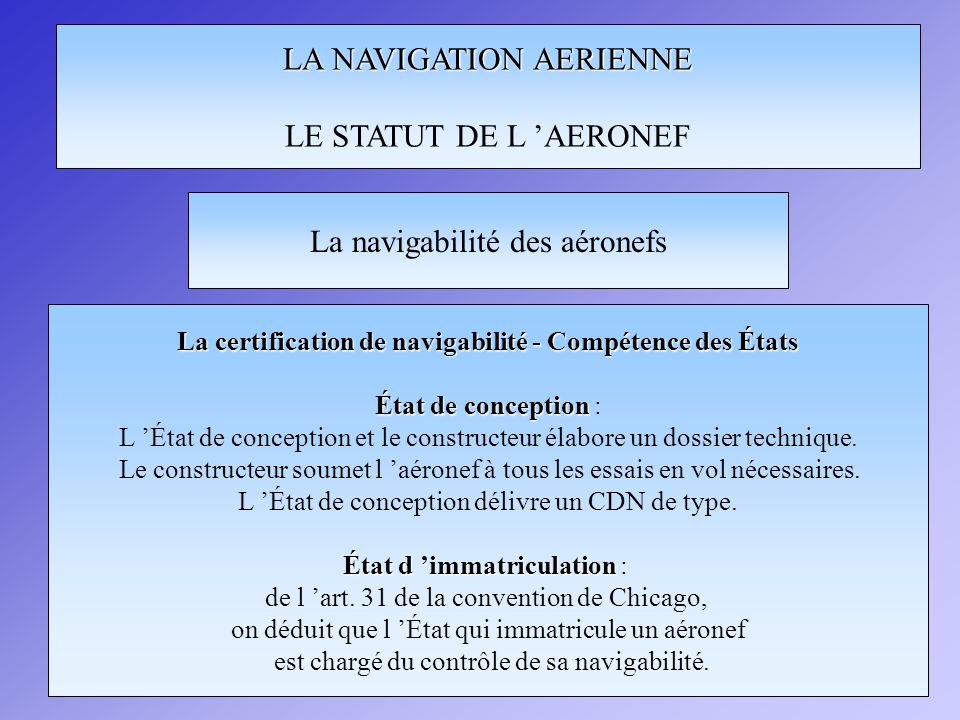 La certification de navigabilité - Compétence des États