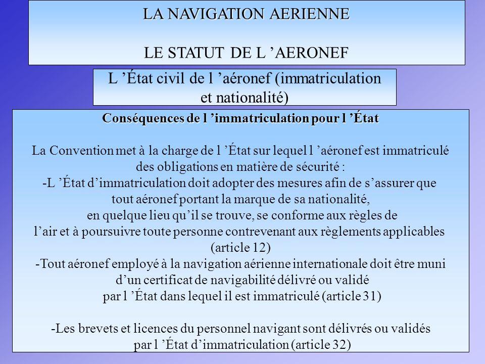 Conséquences de l 'immatriculation pour l 'État