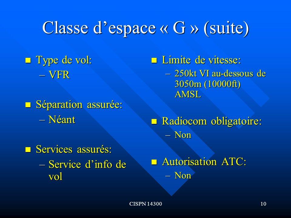 Classe d'espace « G » (suite)