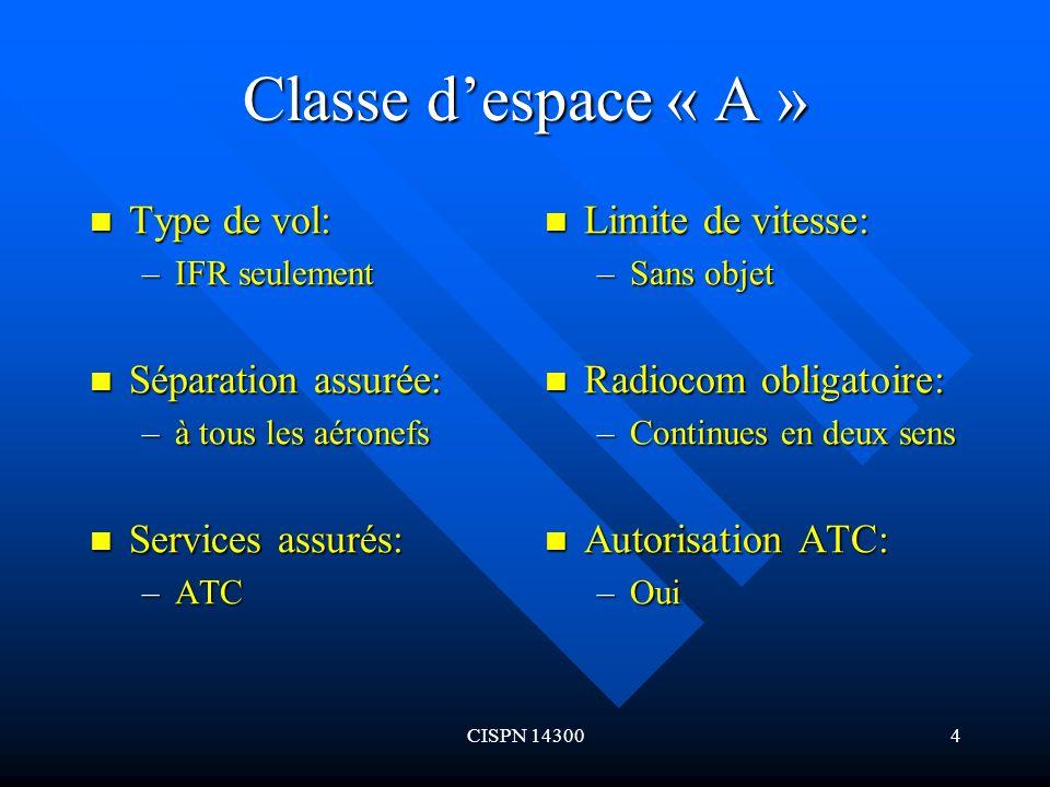 Classe d'espace « A » Type de vol: Séparation assurée: