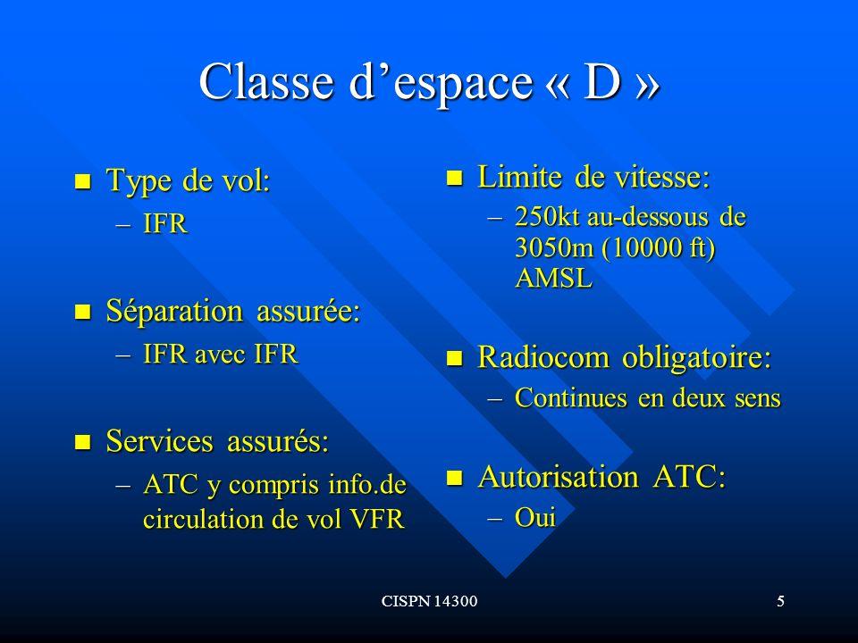 Classe d'espace « D » Type de vol: Séparation assurée:
