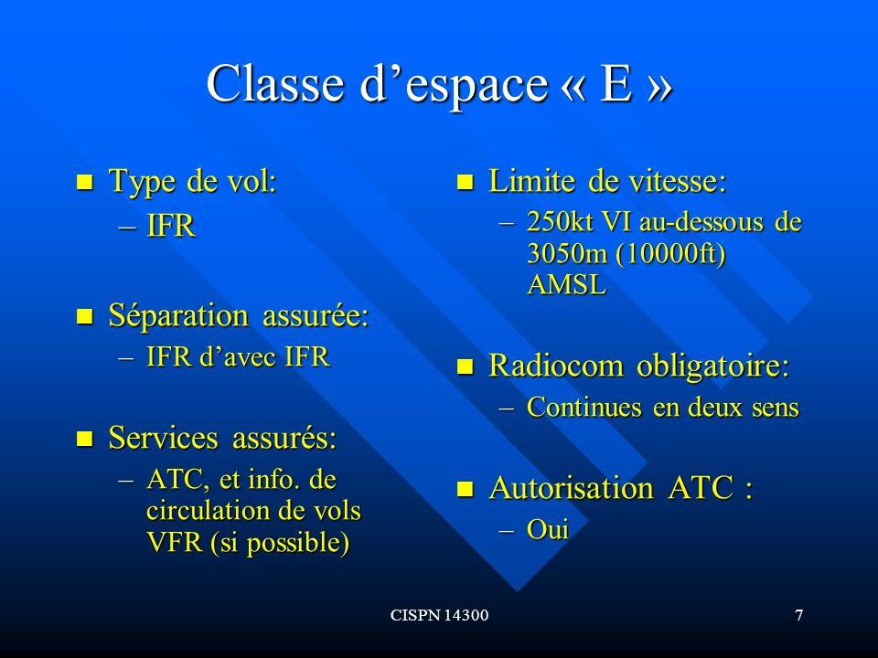 Classe d'espace « E » Type de vol: IFR Séparation assurée: