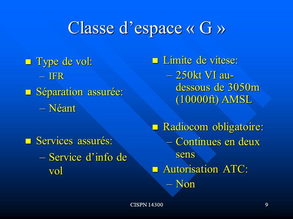 Classe d'espace « G » Type de vol: Séparation assurée: Néant