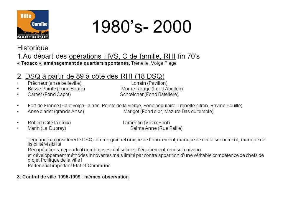 1980's- 2000 Historique. 1.Au départ des opérations HVS, C de famille, RHI fin 70's.