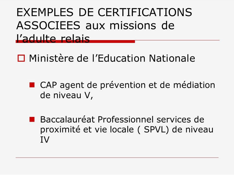 EXEMPLES DE CERTIFICATIONS ASSOCIEES aux missions de l'adulte relais