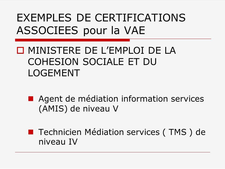 EXEMPLES DE CERTIFICATIONS ASSOCIEES pour la VAE