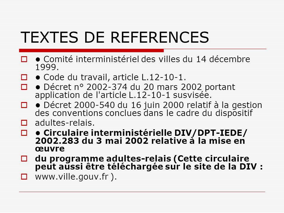 TEXTES DE REFERENCES • Comité interministériel des villes du 14 décembre 1999. • Code du travail, article L.12-10-1.