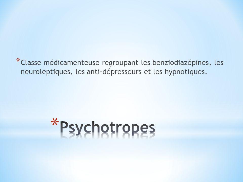 Classe médicamenteuse regroupant les benziodiazépines, les neuroleptiques, les anti-dépresseurs et les hypnotiques.
