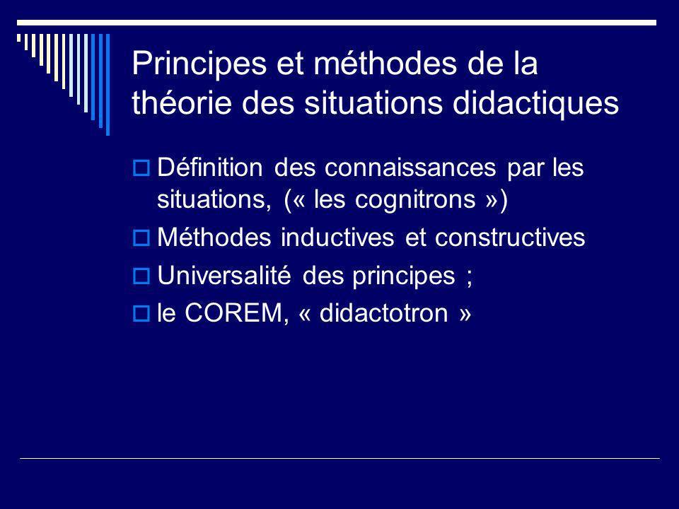 Principes et méthodes de la théorie des situations didactiques