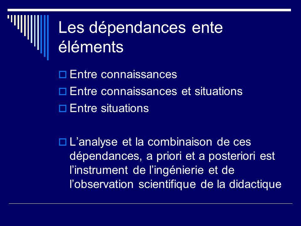 Les dépendances ente éléments