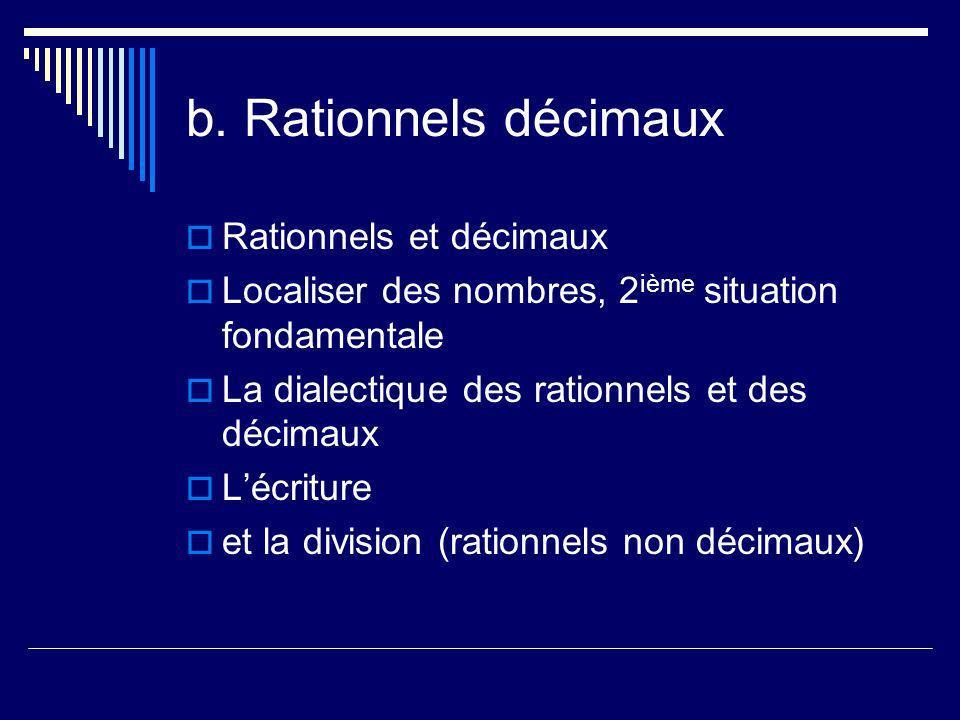 b. Rationnels décimaux Rationnels et décimaux