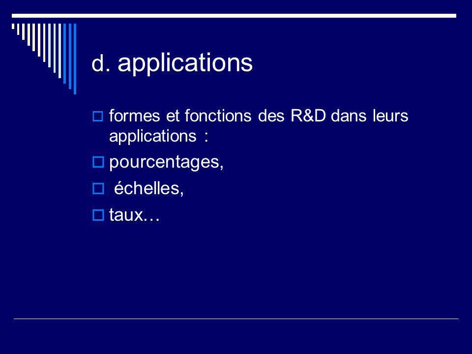 d. applications pourcentages, échelles, taux…