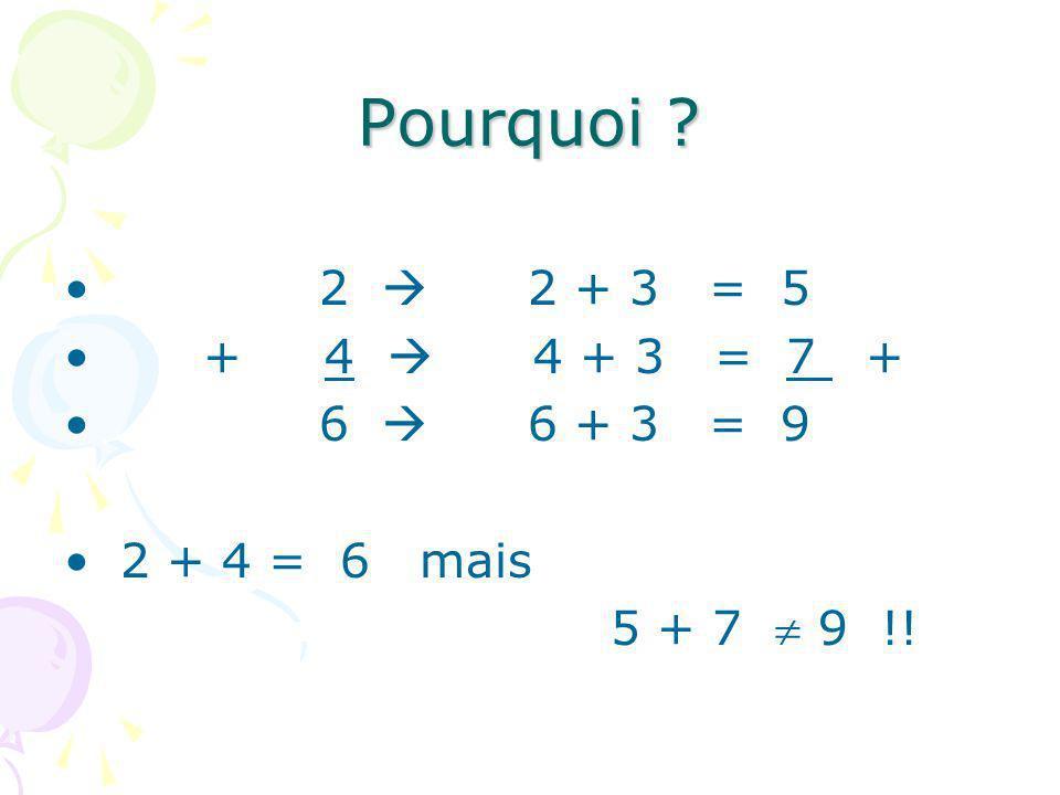 Pourquoi 2  2 + 3 = 5. + 4  4 + 3 = 7 + 6  6 + 3 = 9. 2 + 4 = 6 mais.