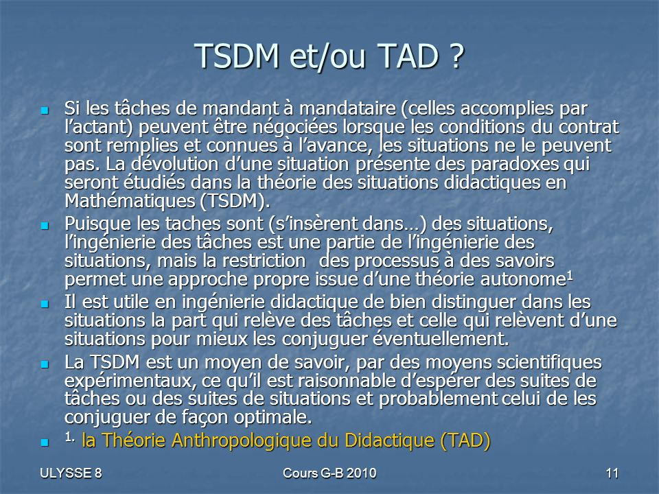 TSDM et/ou TAD