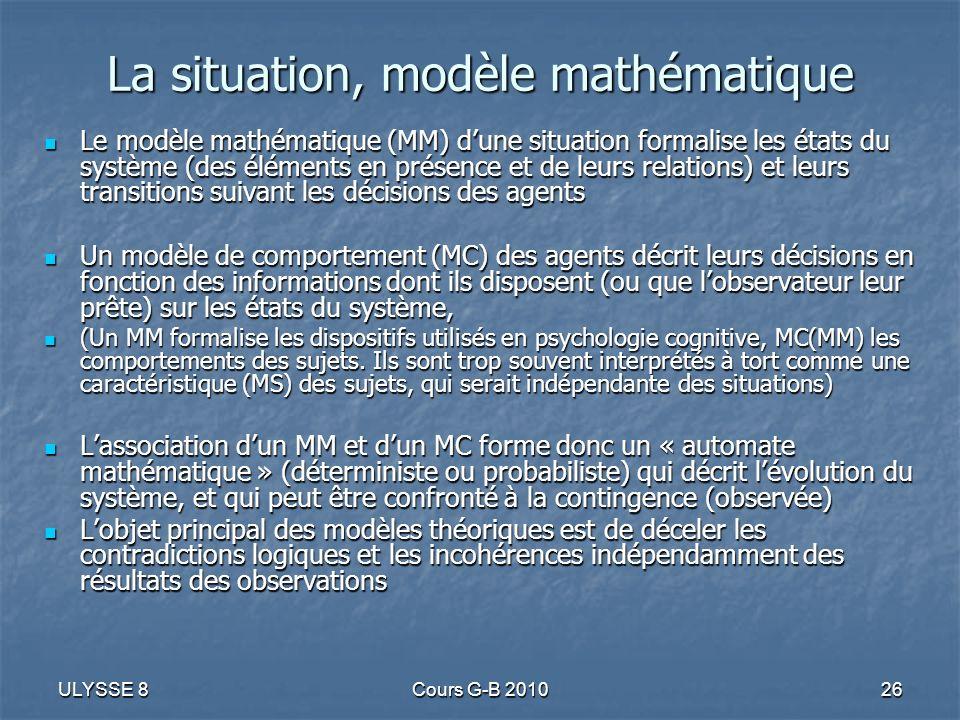 La situation, modèle mathématique
