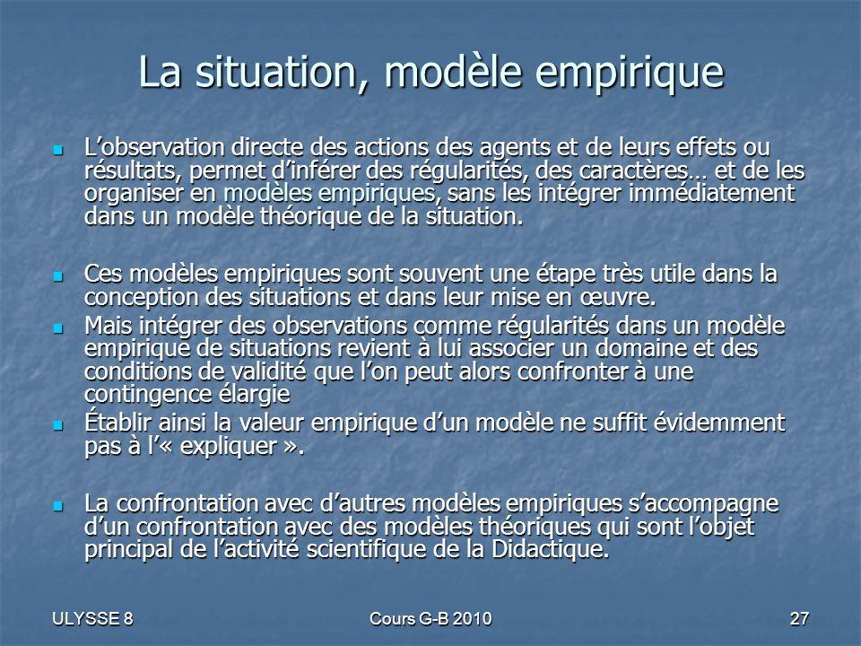 La situation, modèle empirique