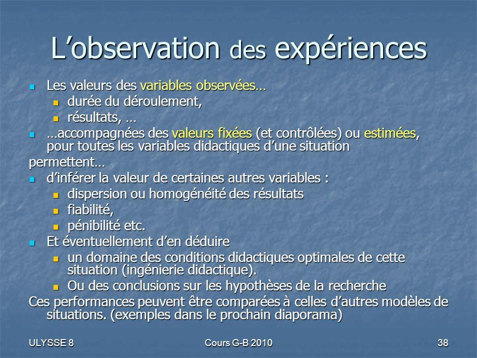 L'observation des expériences