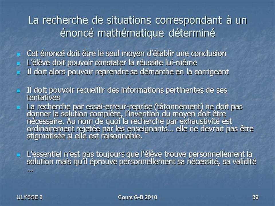 La recherche de situations correspondant à un énoncé mathématique déterminé