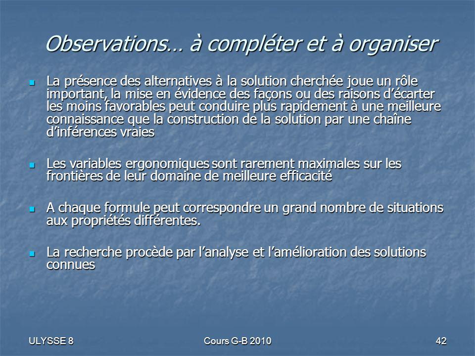 Observations… à compléter et à organiser