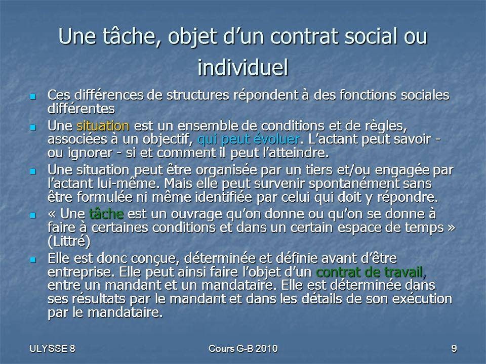 Une tâche, objet d'un contrat social ou individuel
