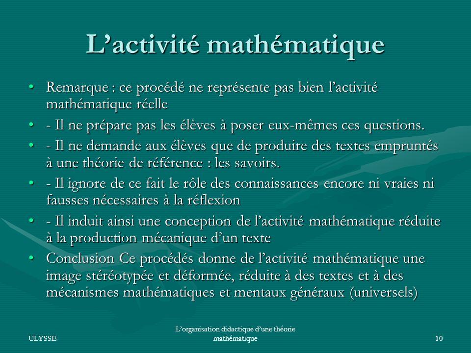L'activité mathématique