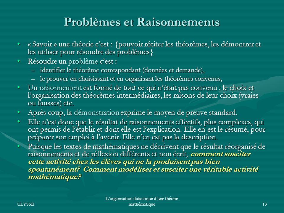 Problèmes et Raisonnements